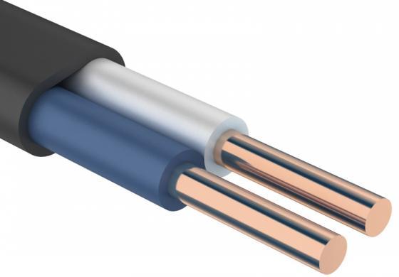Кабель силовой ВВГ-Пнг (А) Калужский кабельный завод 2x1.5 мм плоский 100м черный ГОСТ