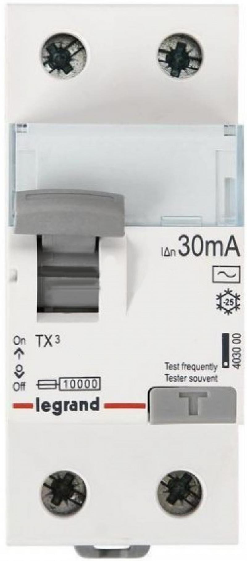 Выключатель дифференциального тока Legrand TX3 2П 25A 30MA-AC 403000