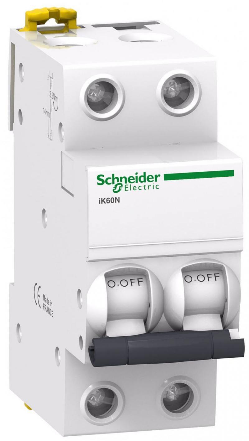 Автоматический выключатель Schneider Electric iC60N 2П 16A C A9F79216 автоматический выключатель schneider electric ic60n 2п 63a c a9f79263
