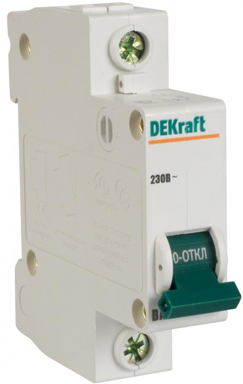 Автоматический выключатель DEKraft ВА-103 1П 2А C 6кА 12050DEK разрядник dekraft 18021dek