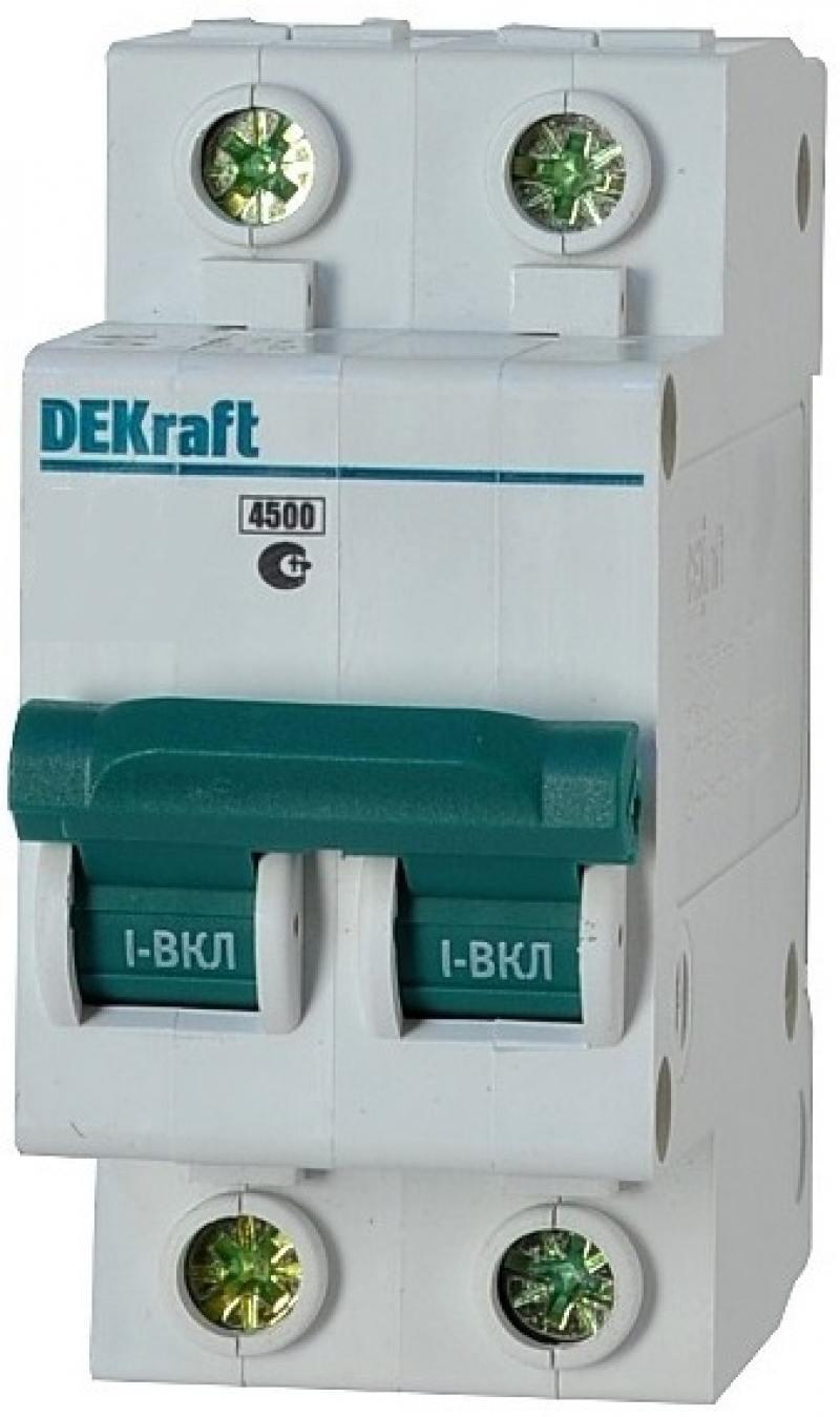 Автоматический выключатель DEKraft ВА-101 2П 10А D 4.5кА 11113DEK автоматический выключатель dekraft ва 103 1п 63а c 6ка 12064dek