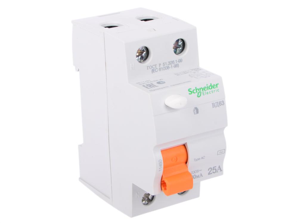 Выключатель дифференциального тока schneider electric вд63 2п 25a