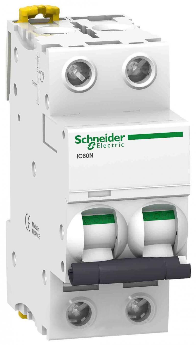 Автоматический выключатель Schneider Electric iC60N 2П 63A C A9F79263 автоматический выключатель schneider electric easy 9 1п 63a c ez9f34163