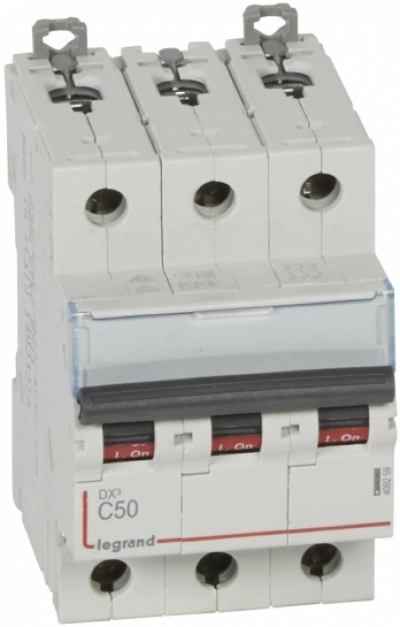 Автоматический выключатель Legrand DX3 10kA/16kA тип C 3П 50А 409259 автоматический выключатель dekraft ва 103 3п 50а c 6ка 12095dek