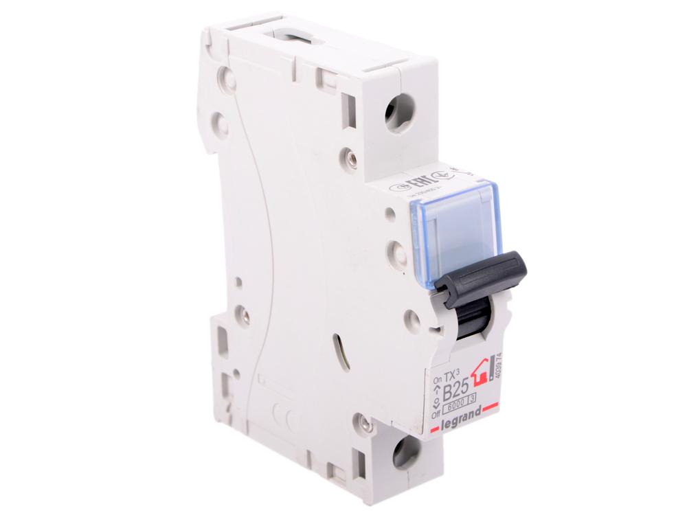 Автоматический выключатель Legrand TX3 6kA тип B 1П 25А 403974 автоматический выключатель legrand tx3 6 10ka тип c 1п 25а 403918