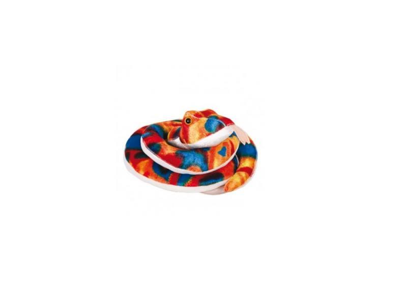 Мягкая игрушка змейка Gulliver Змейка Пеструшка 27 см синий красный оранжевый белый плюш синтепон мягкая игрушка змейка gulliver гулливер змей рэпер 23 см зеленый коричневый желтый плюш синтепон