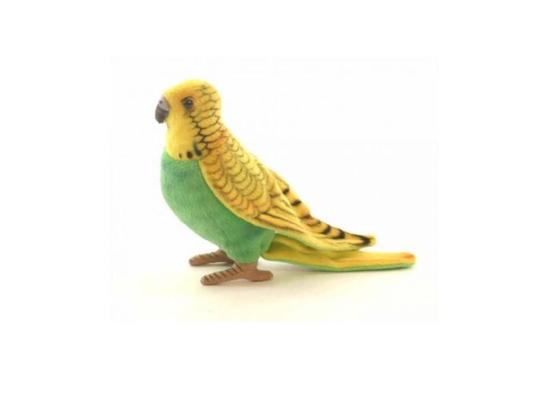 Мягкая игрушка попугай Hansa Волнистый 15 см зеленый текстиль