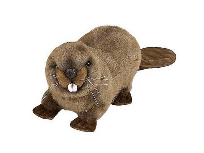 Мягкая игрушка герой мультфильма Hansa Бобёр 20 см коричневый искусственный мех синтепон от OLDI