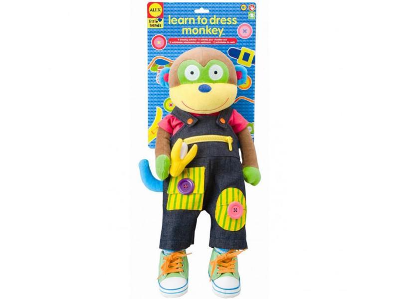 Мягкая игрушка обезьянка Alex Учимся одеваться 56 см разноцветный текстиль