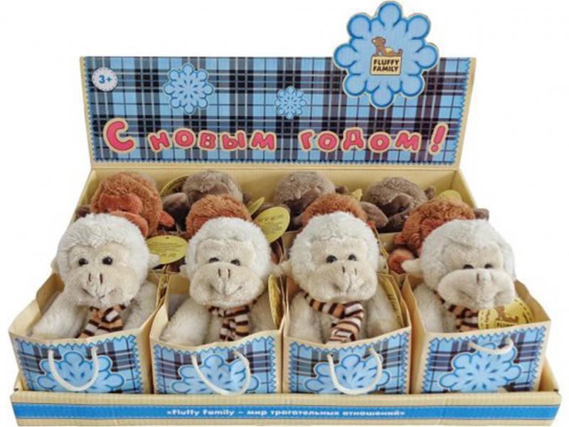 Мягкая игрушка обезьянка Fluffy Family 681154 12 см бежевый плюш fluffy animals