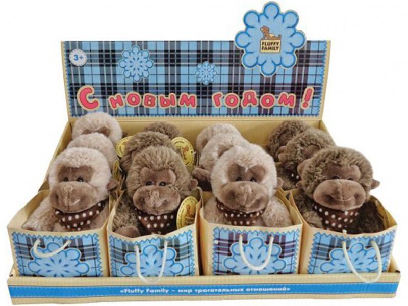 Мягкая игрушка обезьянка Fluffy Family 681154 12 см коричневый плюш fluffy animals