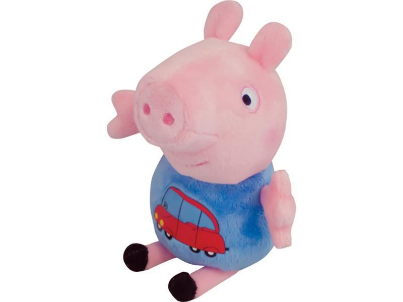 Мягкая игрушка свинка Peppa Pig Джордж с машинкой 18 см розовый текстиль 29620 от OLDI