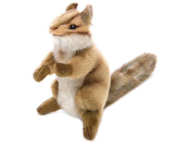 Мягкая игрушка герой мультфильма Hansa Бурундук сидящий 16 см коричневый искусственный мех