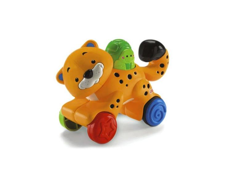"""Интерактивная игрушка Fisher Price Веселые животные на колесиках с сюрпризом """"Гепард"""" от 1 года оран"""