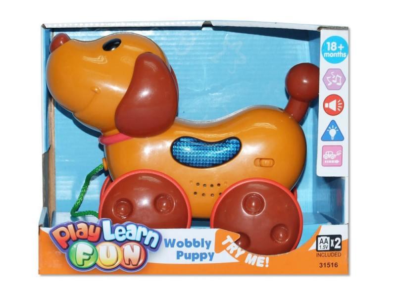 Каталка на шнурке Keenway Веселый щенок пластик от 1 года музыкальная бежевый 31516