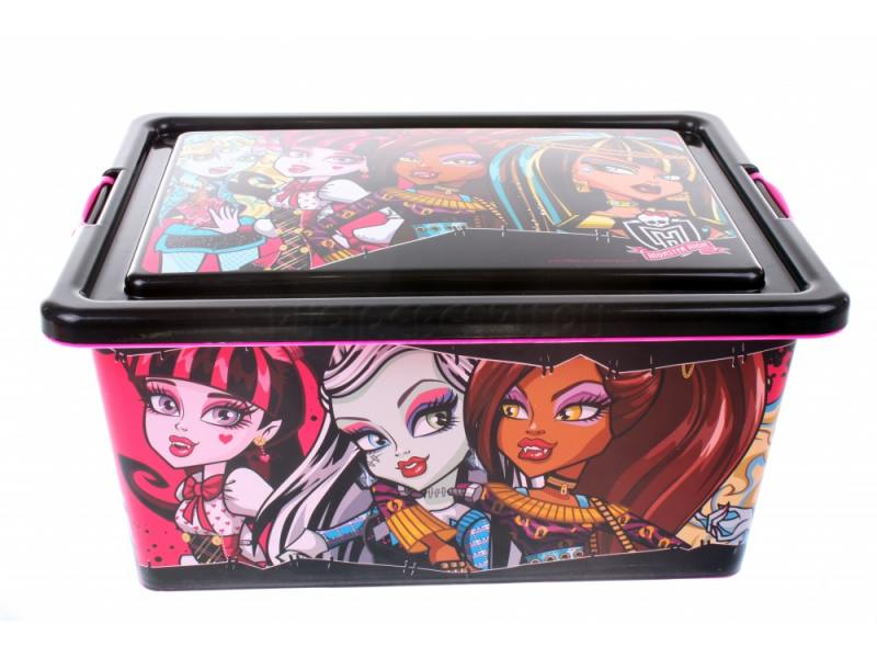 Ящик для игрушек Monster High 4645 без колёс чёрный пластик наклейка monster high