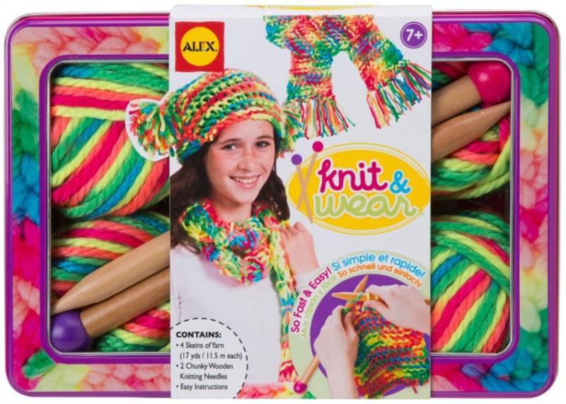 Набор для вязания Alex Разноцветные шарф и шапочка набор для вязания крючком радужный шарф 85t