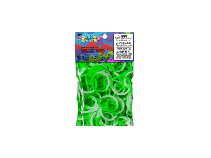 Резинки для плетения Rainbow Loom Силикон Зелеленый/Белый 0588 300 шт набор для детского творчества резинки rainbow loom неоновые цвет зеленый средневековье medieval neon