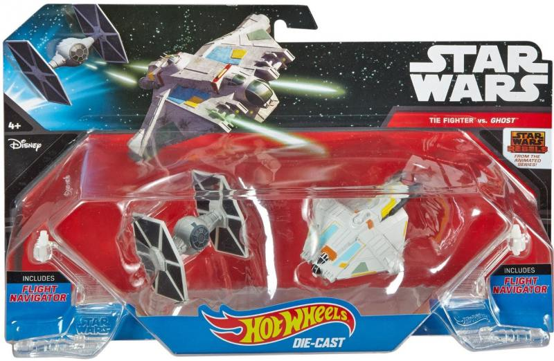 Набор Mattel Hot Wheels 2 звездных корабля Star Wars Tie Fighter vs Ghost CGW90 цена