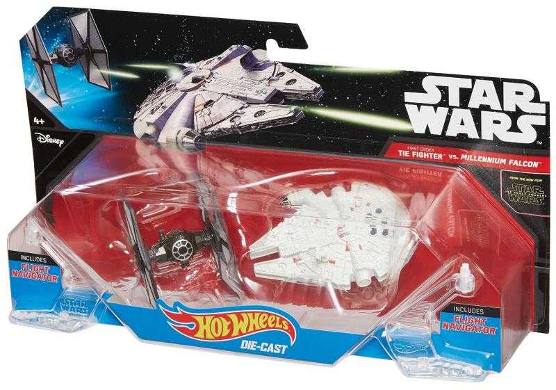 Набор Mattel Hot Wheels 2 звездных корабля Star Wars Tie Fighter vs Millennium Falcon CGW90 hot wheels модель звездного корабля y wing fighter gold leader cgw52 cgw53
