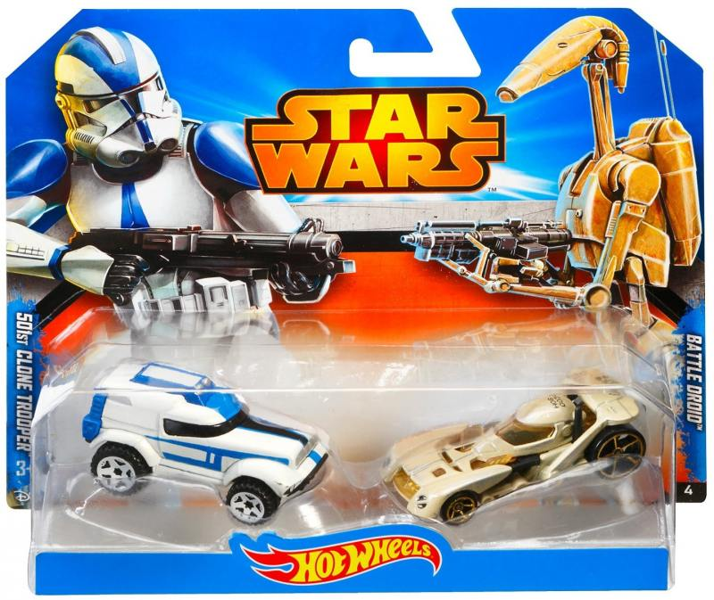 Набор машинок Mattel Hot Wheels 2 машинки Star Wars 501st Clone Trooper CGX07 цена 2017
