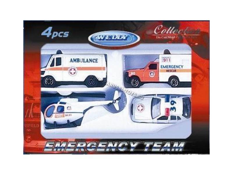 Welly Игровой набор Служба спасения - скорая помощь 4 шт. белый игровые наборы игруша игровой набор экстренная служба