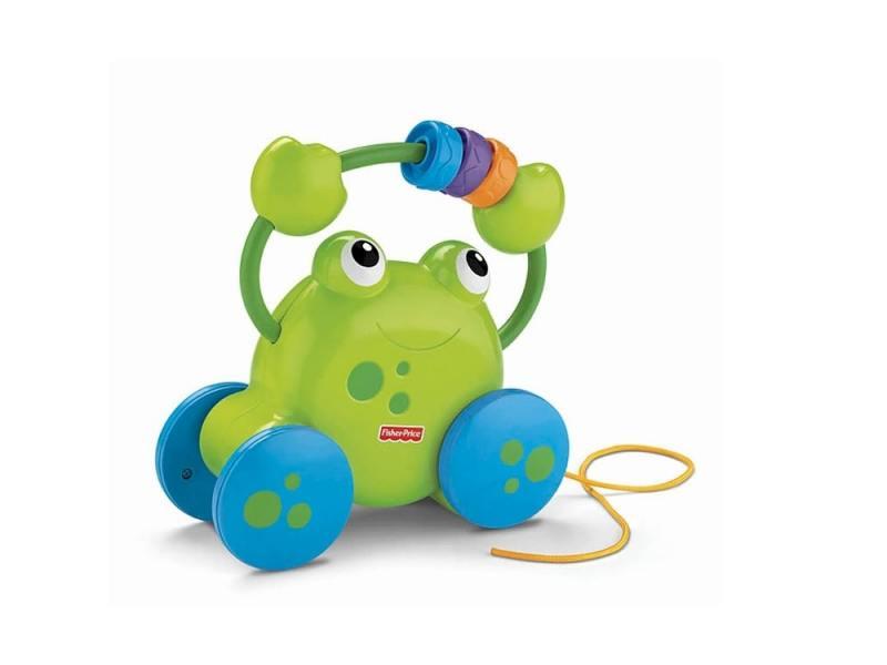 Каталка на шнурке Fisher Price Игрушка-лягушонок забавные звуки пластик от 1 года музыкальная зелены