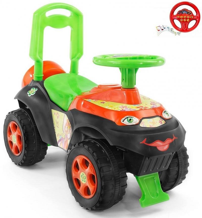 013117/01К Каталка-толокар Автошка с музыкальным рулем зелено-оранжевая Винкс 5559