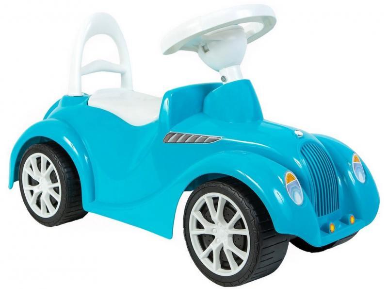 ОР900 Каталка машинка Ретро с клаксоном голубая 5312