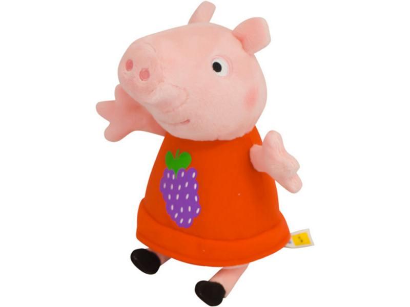 Мягкая игрушка свинка Peppa Pig Пеппа с виноградом 20 см розовый текстиль 29621