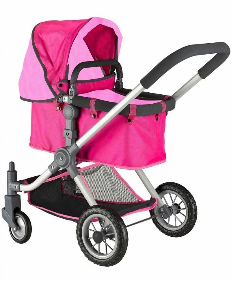 Кукольная коляска RT цвет фуксия+розовый 646