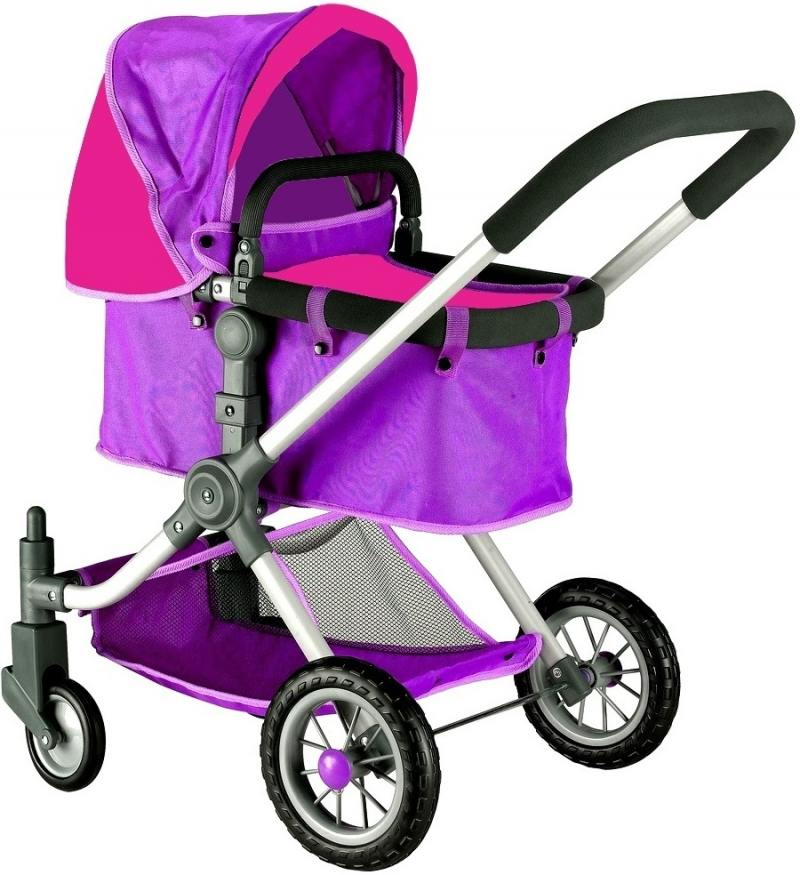 Кукольная коляска RT цвет фуксия+серый 646