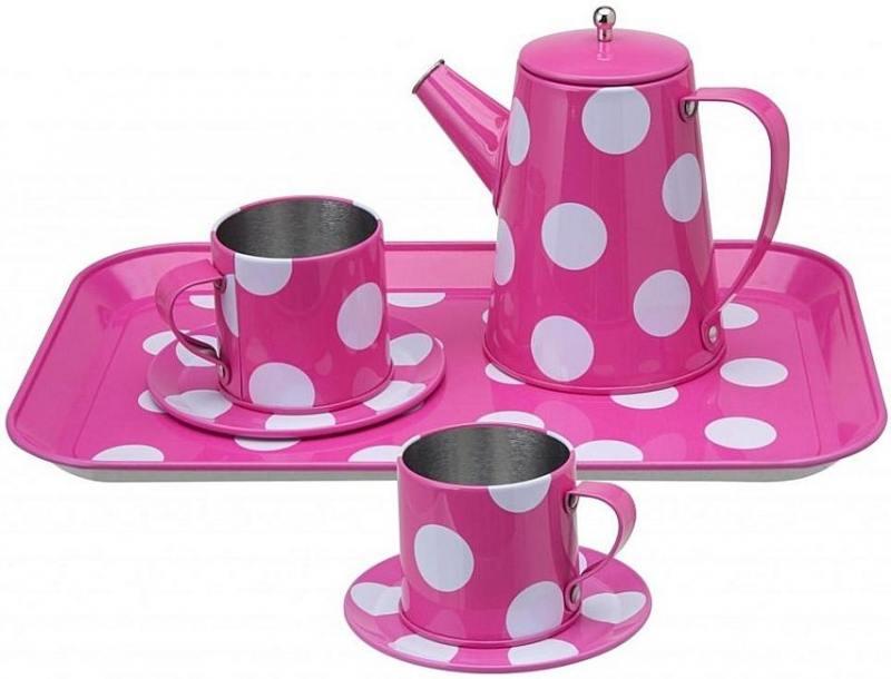 Чайный набор розовый в горошек, от 3 лет 705PD