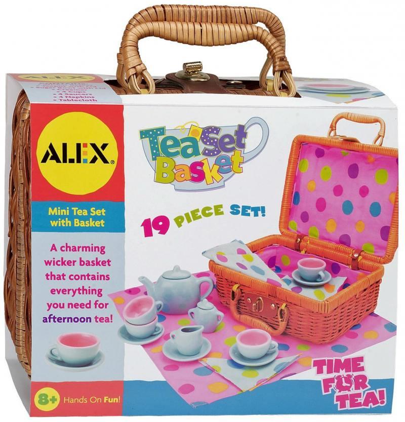 Чайный сервиз форф.Горошек в плетеном чемоданчике, 18 пр., от 3 лет 709W alex чайный сервиз бабочки в саду
