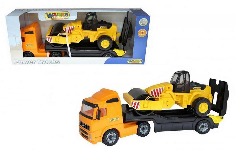 Автомобиль-трейлер Wader+дорожный каток в коробке 9630 бетономешалка набор каменщика wader construct 7 wader construct 8 элементов в коробке [50649 pls]