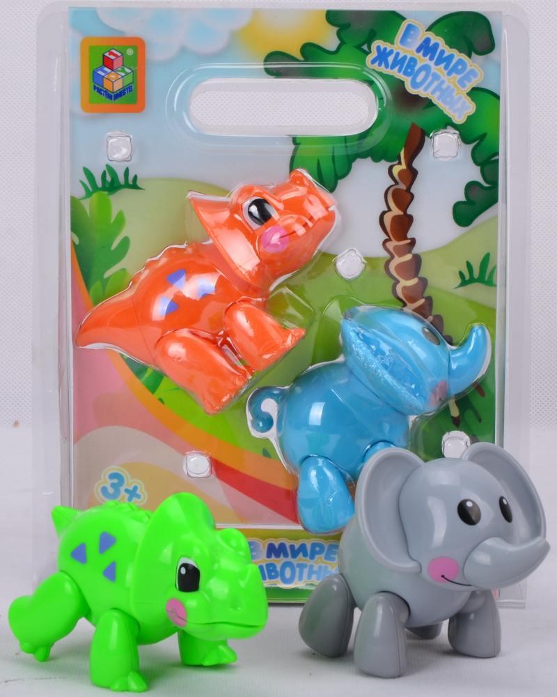 1toy В мире животных  игровой набор из 2 шт (слон и носорог / динозавр), вида в ас-те