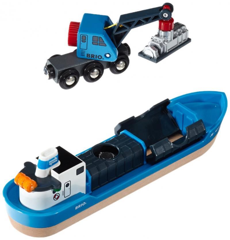 Игровой набор Brio с кораблем, краном-погрузчиком и грузом игровые наборы brio набор порт с сухогрузом и краном 4 элемента