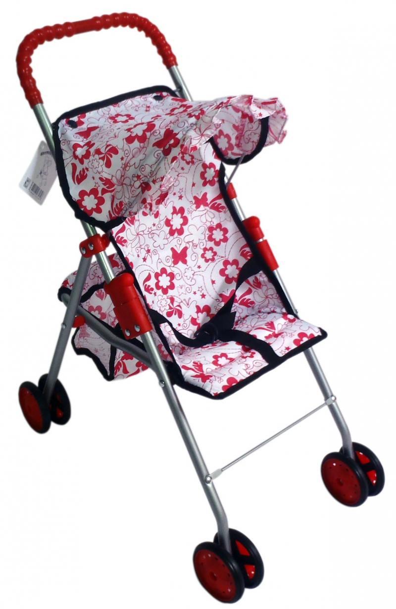 Прогулочная коляска для кукол с корзиной Красотка бело-красный принт Т57313 цена