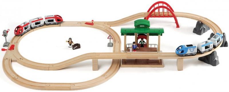 Железная дорога Brio 2-уровневая с вокзалом