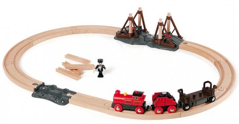 Игровой набор ж/д Brio с паровозом и строящимся мостом погрузчик ж д brio с подъемником и фигуркой