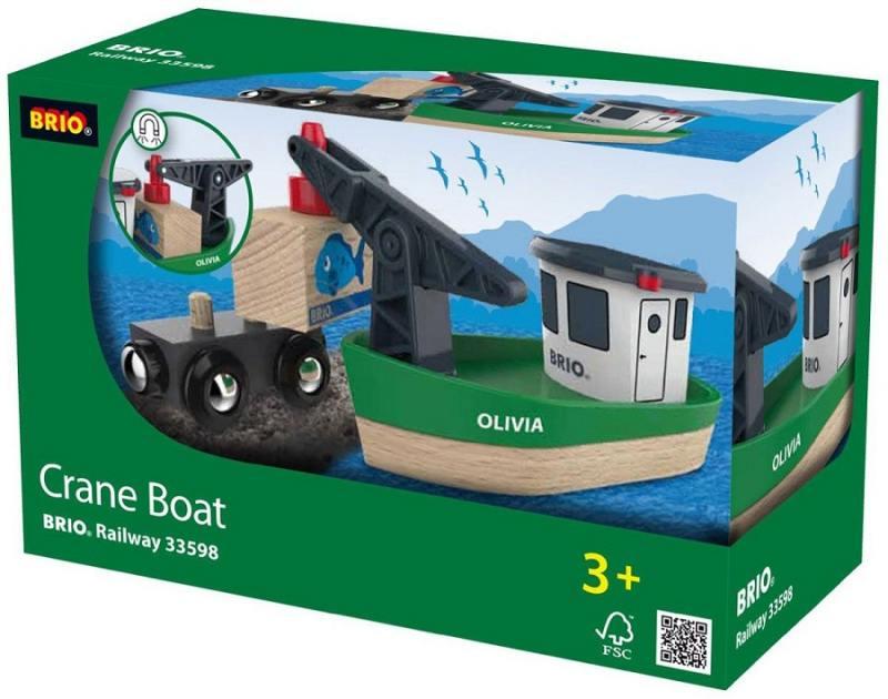 Корабль Brio с краном-погрузчиком на магните и вагончиком игровые наборы brio портовый кран с кабиной и вагончиком с грузом