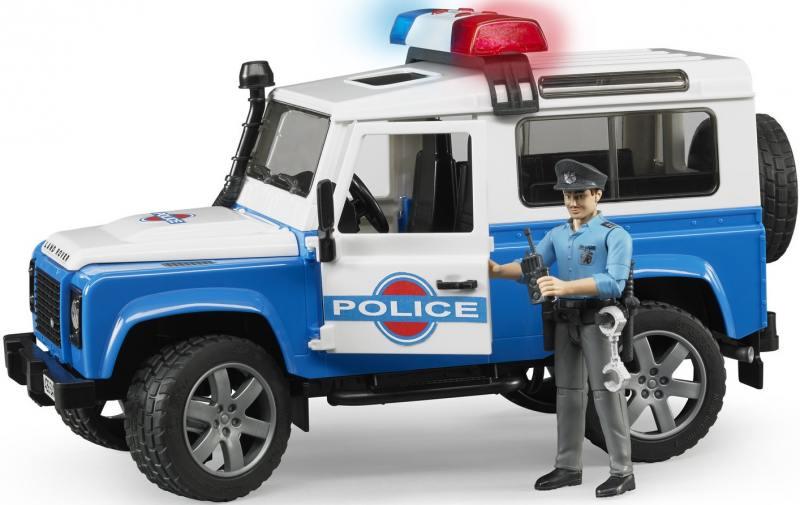 Внедорожник Bruder Land Rover Defender Station Wagon Полиция с фигуркой
