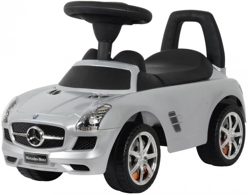 Каталка-машинка Rich Toys Mercedes-Benz с музыкой - серебро металлик 332Р каталка машинка rich toys mercedes benz пластик от 1 года музыкальная черный матовый 332р