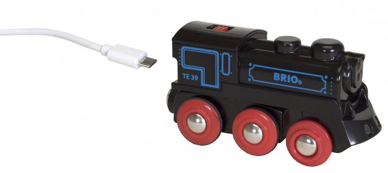 Подзаряжаемый паровоз Brio с mini USB кабелем brio лошадка с попоной и всадник 33793