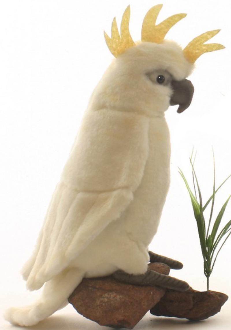 Мягкая игрушка Hansa Большой белохохлый какаду, 22 см 3916 мягкая игрушка попугай hansa большой белохохлый какаду 22 см белый искусственный мех 3916