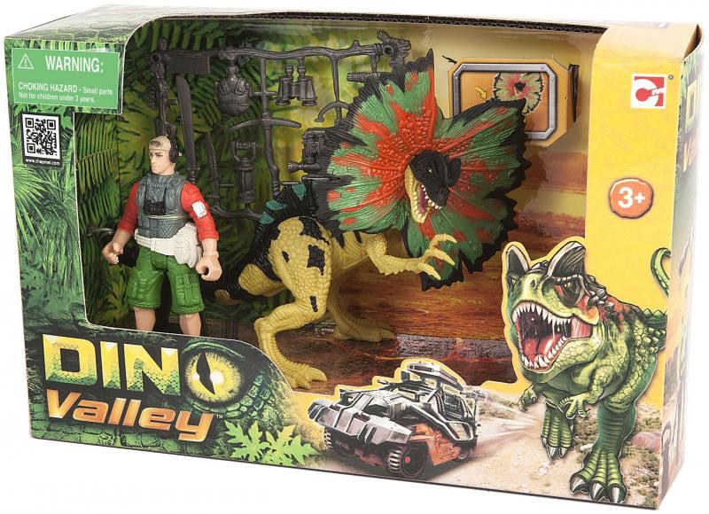 Игровой набор Chap Mei Дилофозавр и охотник со снаряжением 520151-1 колесные диски кик сиеста 12799 6x15 5x114 3 d67 1 et39 алмаз черный