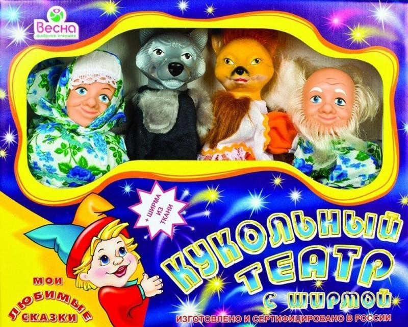 Кукольный театр ВЕСНА 4 персонажа с ширмой №1  В2928