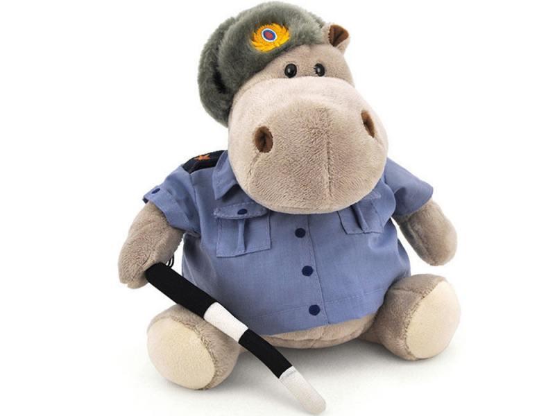 Мягкая игрушка бегемотик ОРАНЖ Полицейский 50 см синий серый искусственный мех синтепон текстиль мягкая игрушка собака orange чихуа kiki малиновый блеск текстиль искусственный мех розовый коричневый 25 см ld010