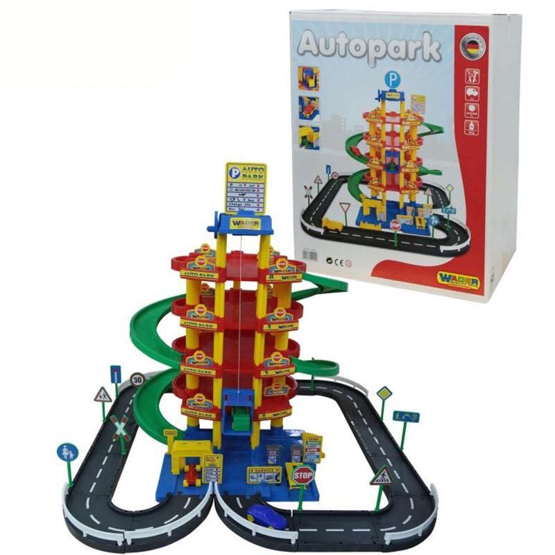 Купить Паркинг Wader 5-уровневый с дорогой и автомобилями красный (в коробке) 38104, Игрушки