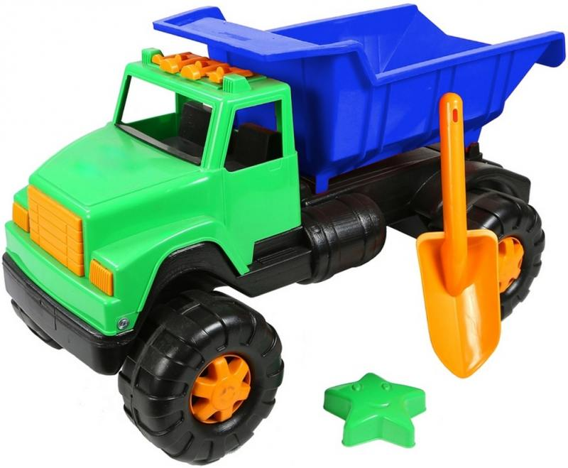 Автомобиль RT Интер BIG цветной (лопата, пасочка) сине-зеленый ОР191 автомобиль rt ор184 интер big цветной лопата и пасочка синий с зеленым